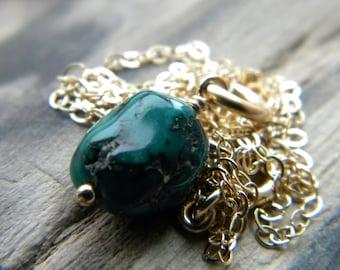 December birthstone - Blue green turquoise nugget 14k gold filled necklace - handmade Southwestern semiprecious gemstone jewelry
