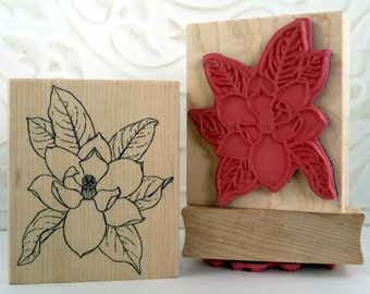 Magnolia flower rubber stamp from oldislandstamps