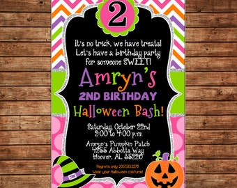 Girl Halloween Bash Birthday Party Pumpkin Jack o Lantern Trick or Treat Chevron Polka Dot Glitter Invitation - DIGITAL FILE