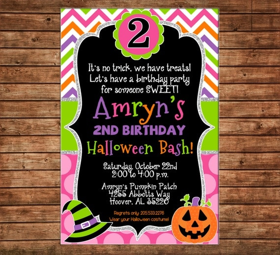 Girl Halloween Bash Birthday Party Pumpkin Jack o Lantern Trick or Treat Chevron Polka Dot Glitter Invitation - DIGITAL FILE