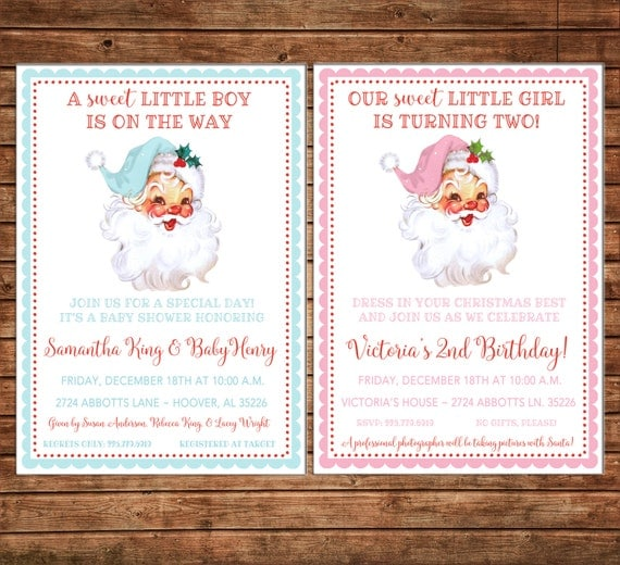 Holiday Christmas Retro Vintage Santa Baby Shower Birthday Boy or Girl Invitation - DIGITAL FILE