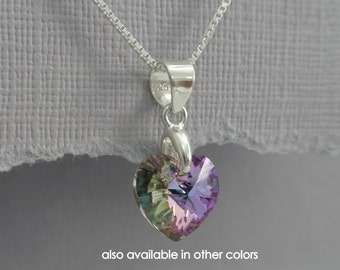 Purple Flower Girl Necklace, Tiny Purple Heart Necklace, Swarovski Vitrail Light Heart Necklace, Sterling Silver Heart Necklace