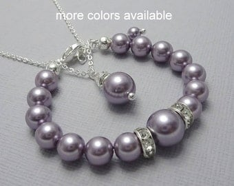 CUSTOM COLOR Flower Girl Bracelet and Necklace Set, Swarovski Mauve Purple Pearl Bracelet and Necklace Set, Personalized Flower Girl Gift
