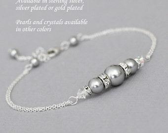 Grey Pearl Bridesmaid Bracelet,  Swarovski Light Grey Pearl Bridesmaid Bracelet, Bridesmaid Jewelry, Personalized Bridesmaid Gift Bracelet