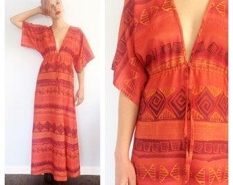 Vintage Burnt Orange Deep V Kimono Maxi Dress