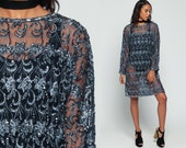 Beaded Dress Sheer Lace Mini 80s SEQUIN Party Cocktail Boho Trophy Tunic Hippie BOHEMIAN 1980s Vintage Mod Long Sleeve Grey Blue Large xl