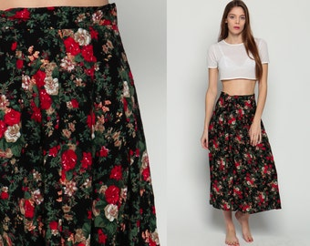 Floral Skirt 80s Midi High Waisted Grunge Print 1980s Boho Black Red Green Ditsy Bohemian Vintage Revival Small