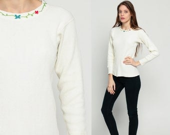 Thermal Shirt FLORAL Long Sleeve WAFFLE KNIT Embroidered 80s T Shirt Undershirt Grunge White Top Hipster Retro Tee Vintage Normcore Small