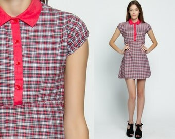 Babydoll Mini Dress 60s PETER PAN Collar Mod Empire Waist Plaid Red Button Up 1960s Vintage Checkered Short Sleeve Dolly Extra Small xs