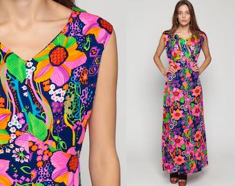 Plus Size Dress Boho Maxi 70s Floral Print Hippie PSYCHEDELIC Neon Pink 1970s Empire Bohemian Vintage Sleeveless Blue Extra Large xl xxl
