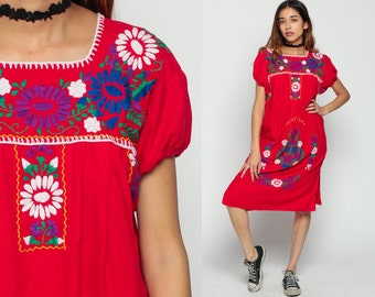 MEXICAN Embroidered Dress Mini Red Cotton Tunic 70s hippie Boho Floral Embroidery 1970s Ethnic Bohemian Vintage Tent Medium Large xl