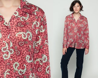 Paisley Shirt 70s Shirt Psychedelic Print Blouse Boho Disco Top Hippie Red Pink 1970s Vintage Bohemian Button Up Long Sleeve Large