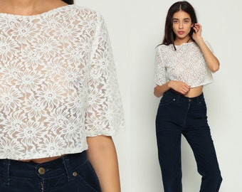 White Lace Top Sheer Blouse Crop Top CROPPED Shirt 80s Hipster Button Back Short Sleeve 1980s Grunge Floral See through Romantic Medium