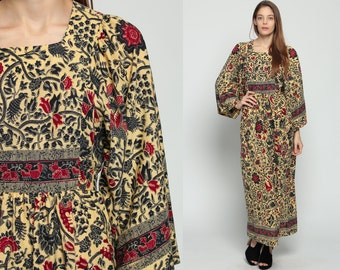 Boho Hippie Dress Ethnic Maxi 70s ANGEL Sleeve Batik BIRD PRINT Bell Sleeve 1970s Floral Bohemian Vintage Empire Yellow Cotton Medium