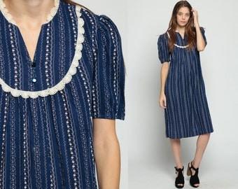 Puff Sleeve Dress Boho Floral 70s Midi TENT Vintage Lace Bib Bohemian 80s Retro Tunic Striped Folk Smock Button Up Dark Blue medium large