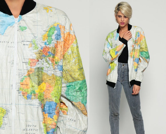 World map jacket 90s tyvek coat ussr windbreaker plastic 80s world map jacket 90s tyvek coat ussr windbreaker plastic grunge travel bright vintage 80s hipster atlas gumiabroncs Choice Image