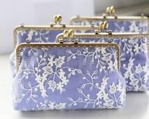 Lace and lavender purple linen Bridesmaid Clutch / Bridesmaid Gift Clutch / Wedding Clutch (Cosmetic Case, Makeup Pouch)