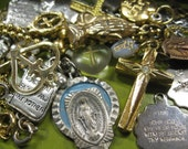 Wee Holy Bits Lot of 25 Crosses Medals Charms 4 U 2 Make Something 3 Necklaces Included