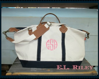 Monogrammed Canvas Weekender Bag, Personalized Tote with Leather Handles and Trim
