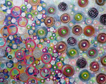 Circles Original Abstract Painting 16x20x1 Handpainted Acrylic Colorful Unique Heather Montgomery Art