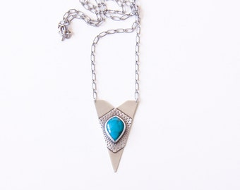 "Unique turquoise necklace with a geometric shape pendant handmade of two layers of sterling silver sheet for visual depth - ""Arrow Necklace"""