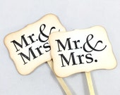 Mr. & Mrs. Cupcake Toppers. Wedding Cake Picks. Wedding Dessert Table. Wedding Decor Rustic. Wedding Cake Topper. Mr. and Mrs. Bridal Shower