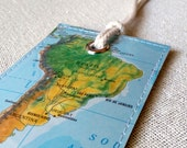 South America luggage tag made with original vintage map