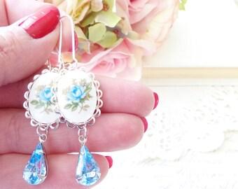 Vintage Blue Rose Limoges Earrings - Light Sapphire Earrings - Blue Rhinestone - Silver Earrings - Something Blue -  Bridal Earrings