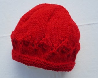 Irish Knit Hat Child Boy or Girl.  Red for Baby 12-18 months