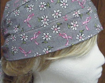 Breast Cancer Awareness Do Rag/Head Gear/Skull Cap Black Grid with Pink Ribbon White Daisy