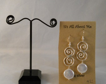 Sterling silver and coin pearl earrings