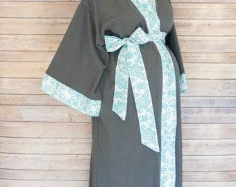 Aqua Damask Maternity Kimono Robe - Super Soft Gray Microfleece - Add a Labor and Delivery Gown to Match