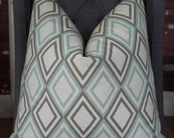 Geometric Pillow Cover, Decorative Pillow, Throw Pillow, Sofa Pillow, Toss Pillow, Gray Diamond, Seafoam Diamond, Home Furnishing,Home Decor