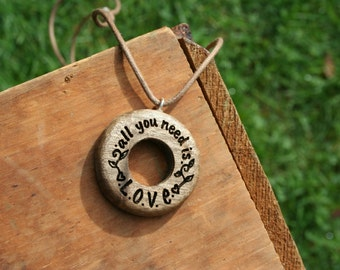 All You Need Is Love Pendant - Wooden Pendant- Sustainable Wood Jewelry- Oregon Myrtlewood Tree Earrings- Natural Wood Jewelry- Eco Earrings