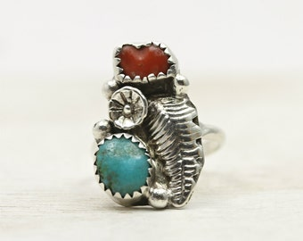 Vintage turquoise and coral ring in sterling silver in size 5.25