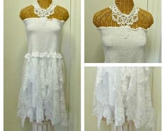Boho Lagenlook Dress Womens Size Medium Large Handkerchief Bridal Lace Wedding Fairy White Soutache