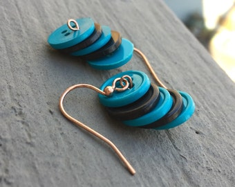 Blue Button earrings, black button earrings, button earrings, stacked earrings, urban earrings, team earrings