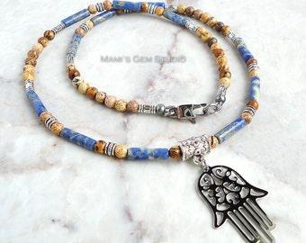 Hamsa, Hand of Fatima Charm Necklace for Men, Unisex, Blue Brown Tan Stone Sodalite Picture Jasper Beaded Necklace