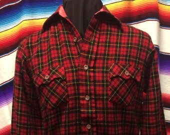 Small womens red plaid flannel western shirt