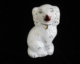 White Dog  Figurine with Gold Gilding Big Nose Dog   Figurine Ceramic marked #22