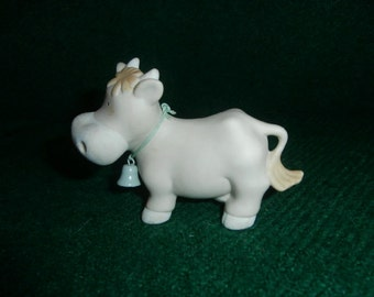 Bisque COW ~ Blue Bell  Bumpkins Porcelain Bisque Figurine