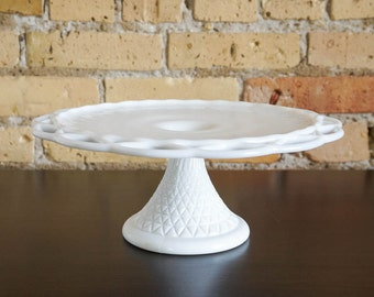 Vintage 1950s Imperial White Milk Glass Cake Stand VGC / Open Lattice Edge, Molded Triangular Pattern Pedestal, Retro Cottage Farmhouse