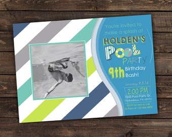 Pool Party invitation Printable Birthday Invitation- Print Your Own