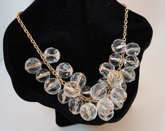 80s Lucite Clear Ball/ Facetted Beads Cluster Necklace