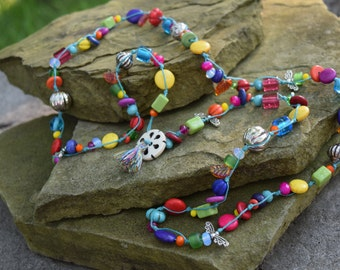 Long Wax Thread Necklace with Multi Color Glass, Magnesite and Crystals