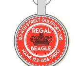 REGAL BEAGLE Personalized Dog ID Pet Tag Custom Pet Tag You Choose Tag Size & Colors, Available in 11 Colors