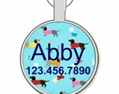 Retro Daschund Print Silver Custom Personalized Dog ID Pet Tag Custom Pet Tag You Choose Tag Size & Colors