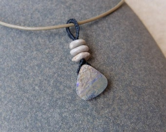 Boulder opal,  Pebbles pendant necklace - handmade in Australia by NaturesArtMelbourne - unique natural stone jewellery
