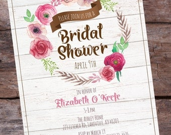 Rustic Bridal Shower Invitation - Floral Bridal Shower Invitation - Watercolor Shower Invitation - Watercolor Floral Shower Invitations 10+