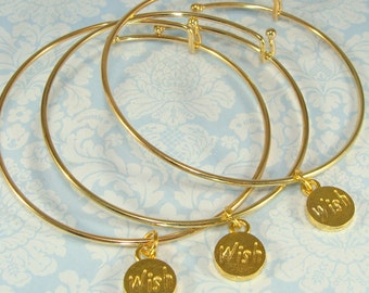 3 Wish Charm Bracelet Bangles Gold Expandable - Bulk Gifts Lucky Charms for Best Friends Bridesmaids Friends Teachers Holidays Christmas